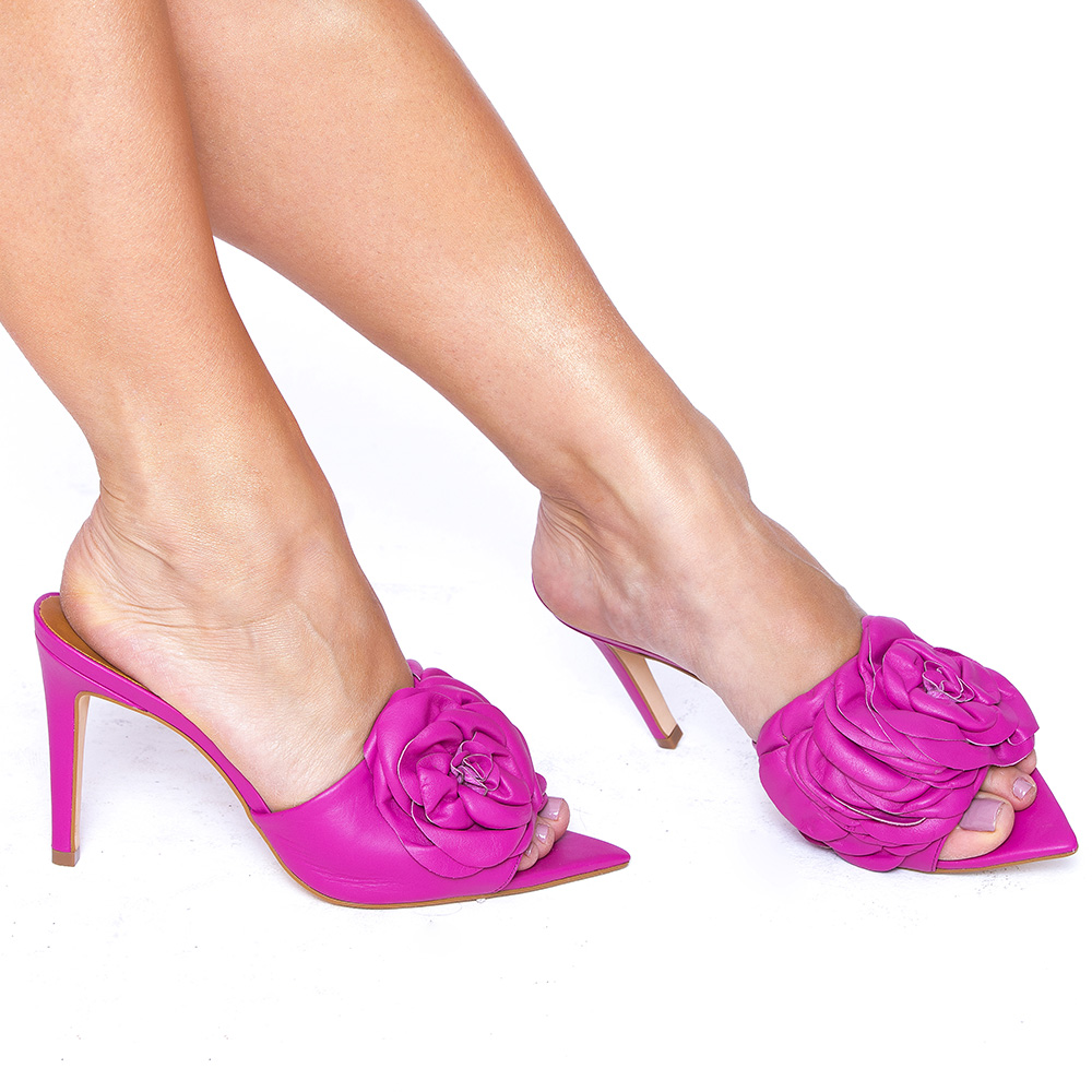 Mule Flor Bico Folha Couro Veneto Pink