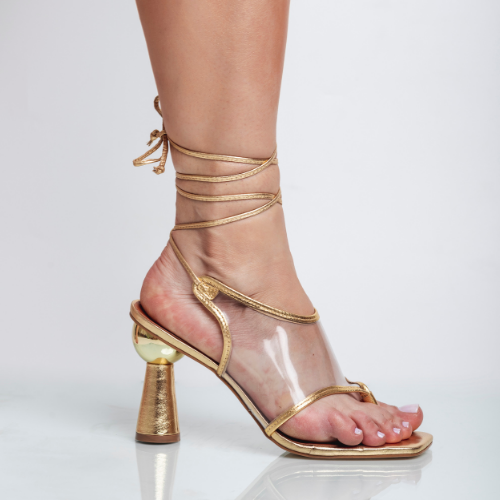Sandália Amarração Vinil Transparente Salto Geométrico Cristal Ouro