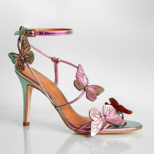 Sandália Borboletas Couro Cristal Rosa Verde