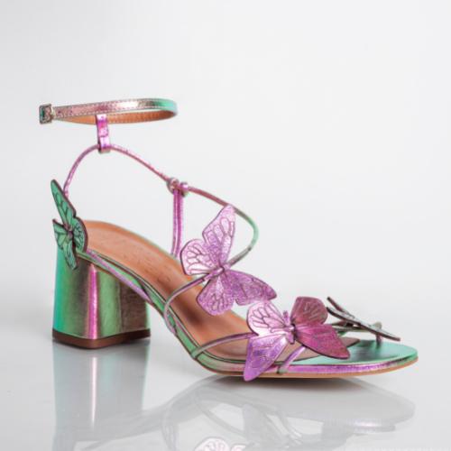 Sandália Borboletas Salto Bloco Médio Cristal Rosa Verde
