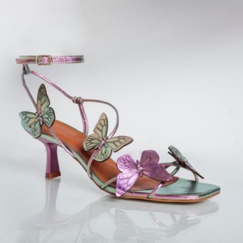 Sandália Borboletas Salto Fino Médio Cristal Rosa Verde
