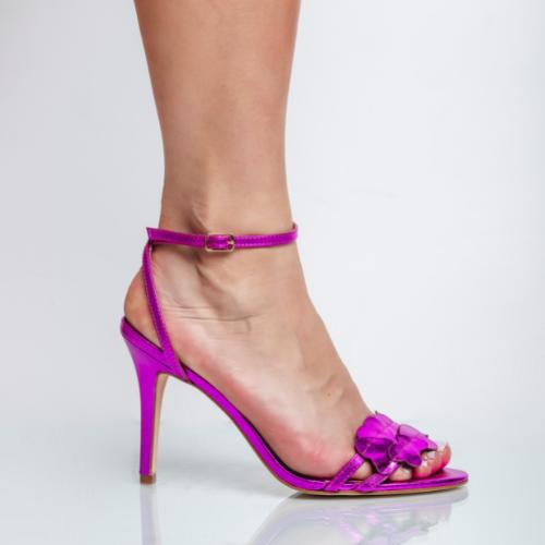 Sandália Corações Salto Fino Cristal Pink