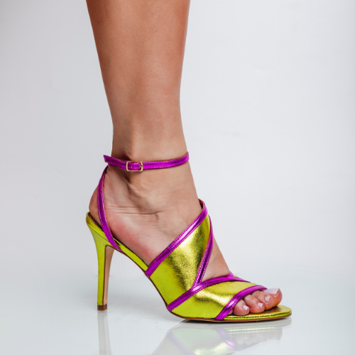Sandália Recortes Salto Fino Cristal Pink/Citrus