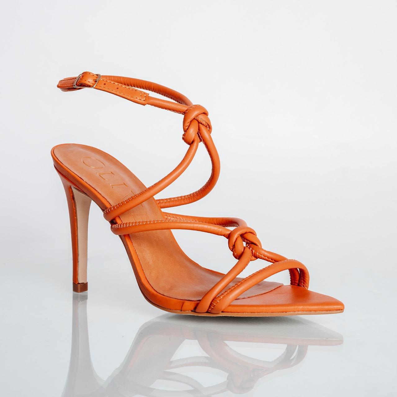 Sandália Salto Fino Bico Folha Nó Veneto Tangerina