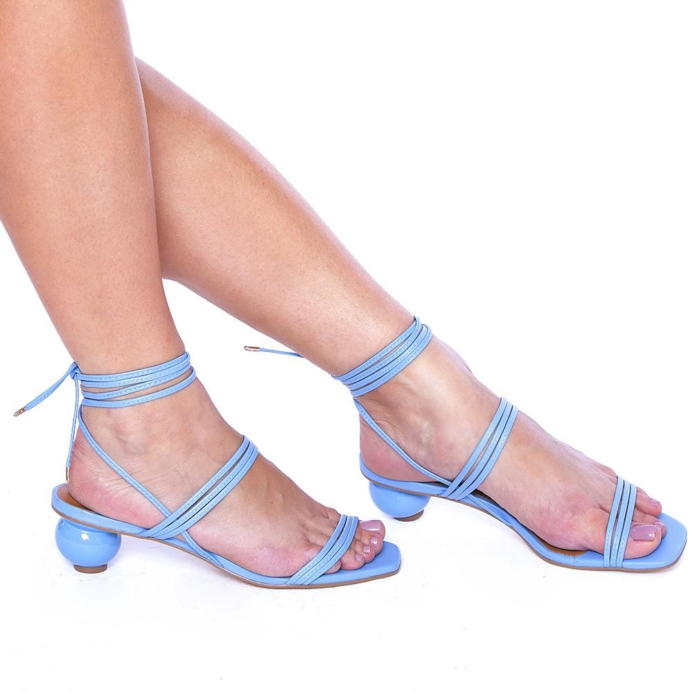 Sandália Tiras Finas com Amarração Salto Bola Azul Fresh
