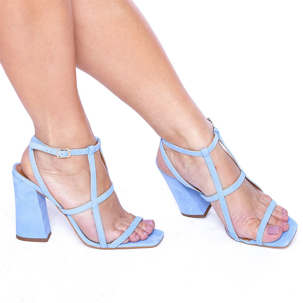Sandália Tiras Salto Bloco Couro Veneto Fresh Blue