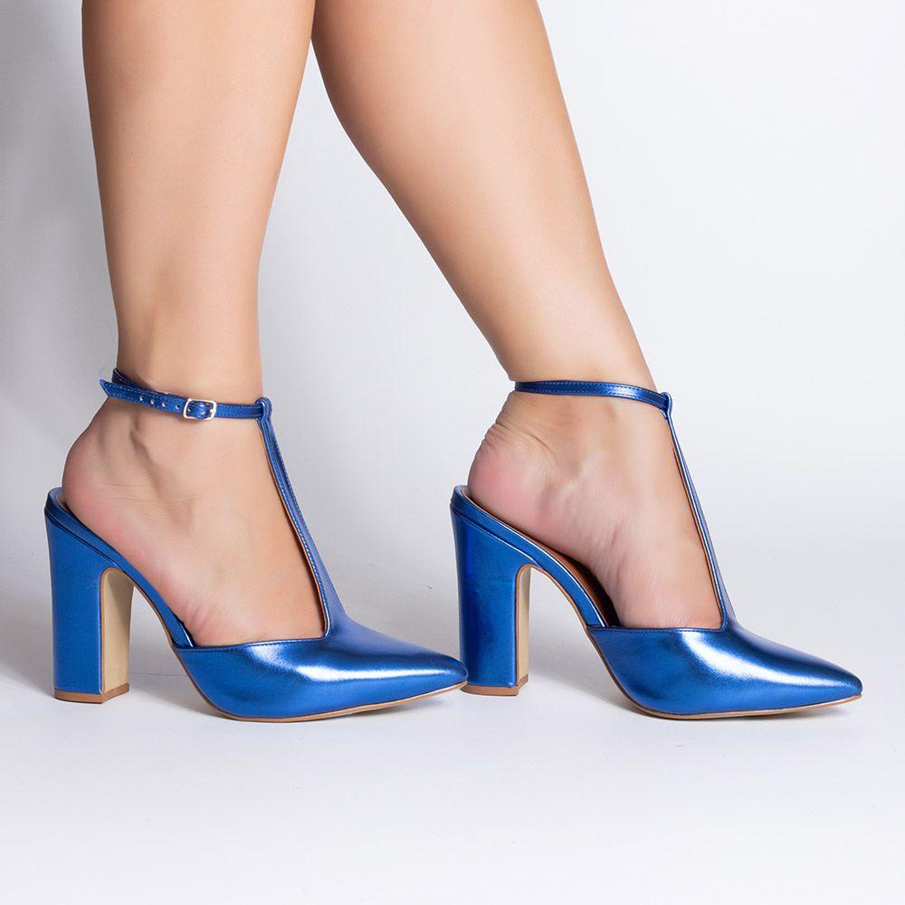 Scarpin Salto Bloco Metalizado Azul Royal