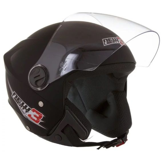 CAPACETE NEW LIBERTY THREE PRETO FOSCO TAM.58