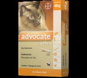 Combo Advocate Bayer c/3 pulgas, vermes e sarnas Gatos 4 kg