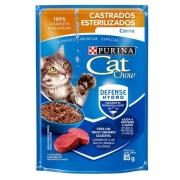 Combo com 45 Saches - Sache Cat Chow Gato Castrado Sabor Carne 85g