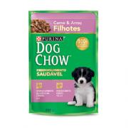 Caixa com 15 Sachê Dog Chow Purina Carne Filhotes 15x100g