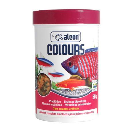 Ração em flocos p/ peixes para aumento de cor Alcon Colours 50 g  - Onda do Pet