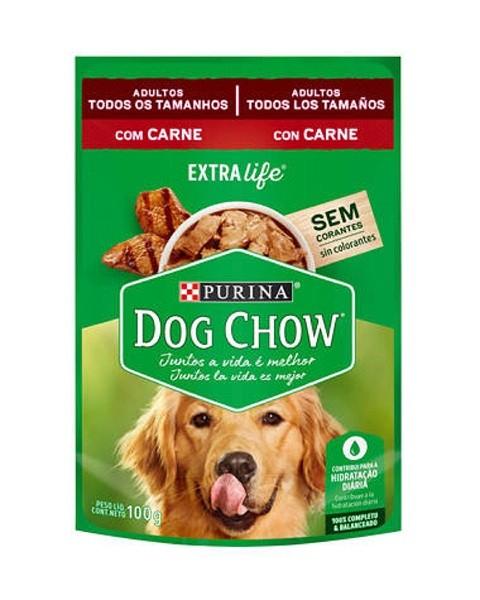 Caixa com 15 Sachê Dog Chow Purina Carne Adulto 15x100g