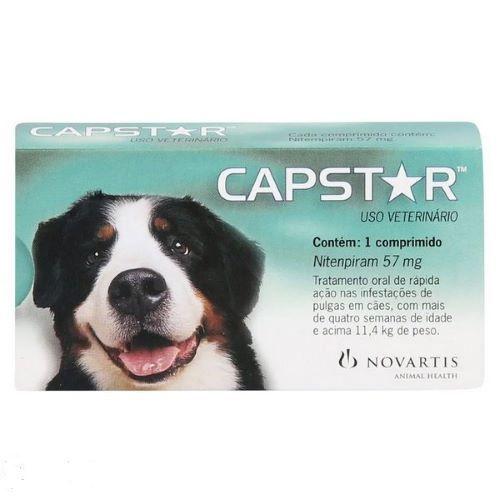 Capstar Antipulgas e Miíase (bicheira) em cães e gatos de 11,4 a 57 Kg de peso.