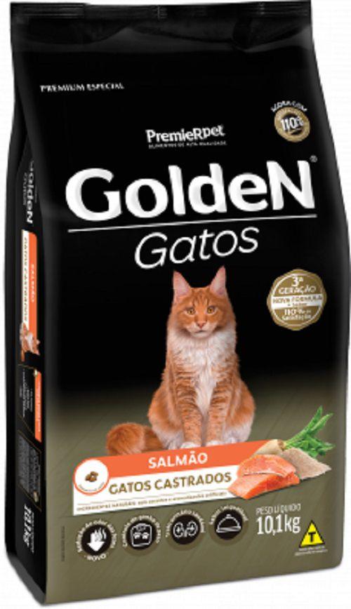 Combo 30 sache Cat Chow castrado carne, 1 Golden Castrado Salmão 10kg 2 comedouro  - Onda do Pet