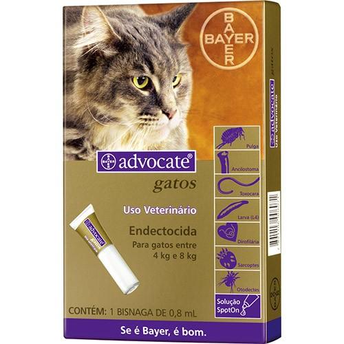 Combo Advocate Bayer c/3 pulgas, vermes e sarnas Gatos entre 4 e 8 kg