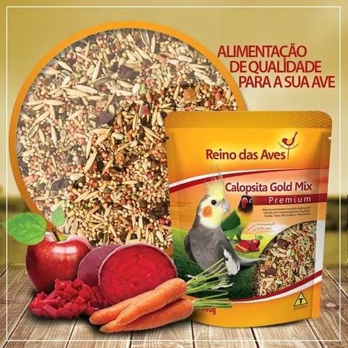 Combo com 2 Ração Mix de sementes e frutas Calopsita 500G Reino das Aves  - Onda do Pet