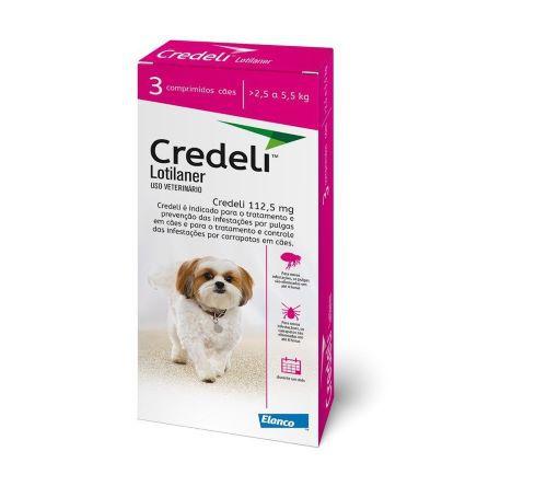 Credeli Pulgas e carrapatos cães entre 2,5 a 5,5 kg caixa com 3 comprimidos