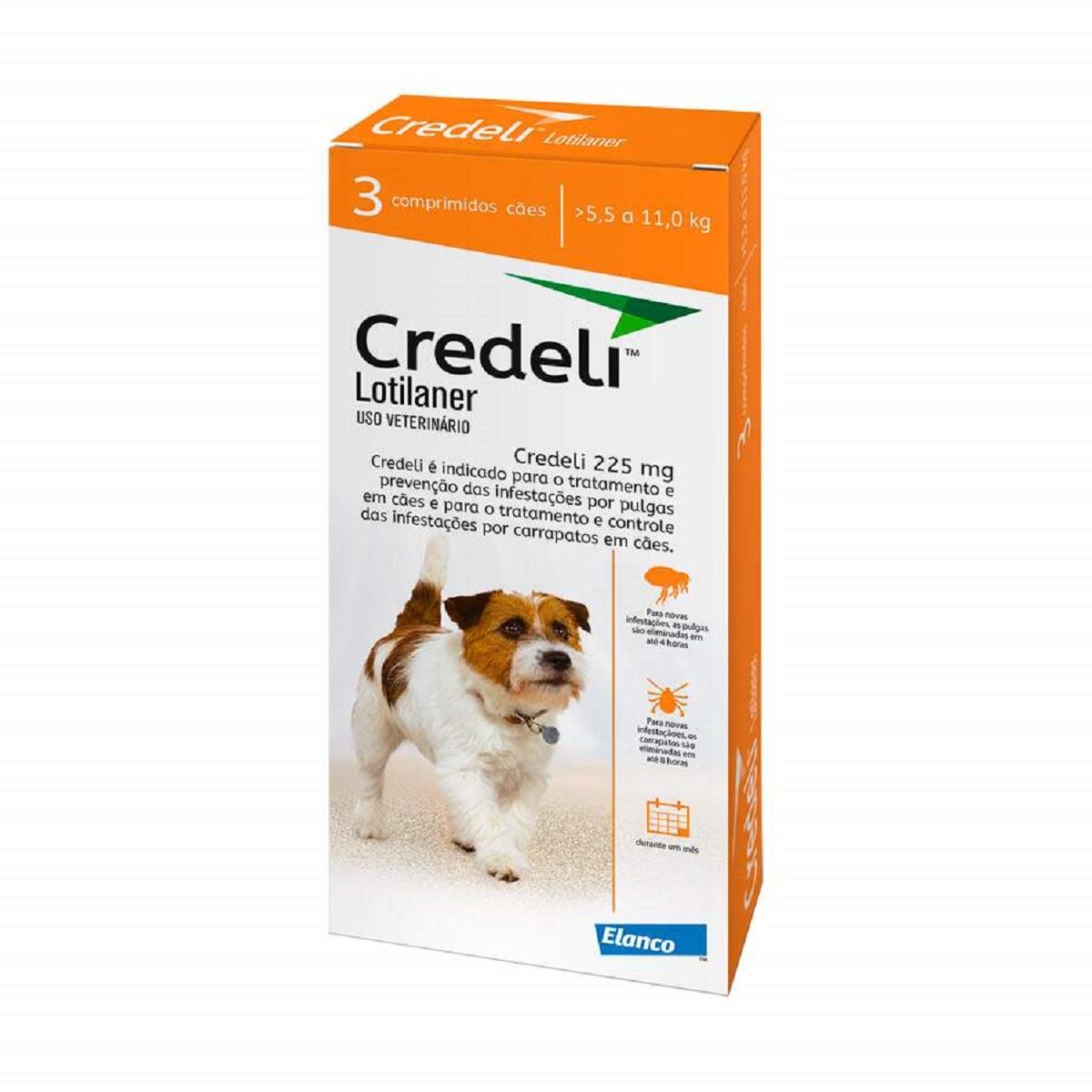 Credeli Pulgas e carrapatos cães entre 5,5 a 11,0 Kg caixa com 3 comprimidos