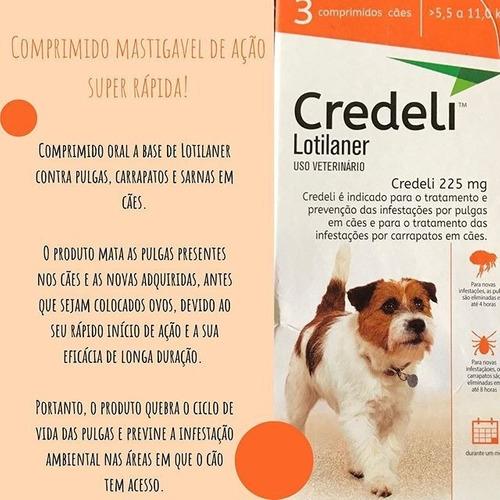 Credeli Pulgas e carrapatos cães entre 5,5 a 11,0 Kg caixa com 3 comprimidos  - Onda do Pet