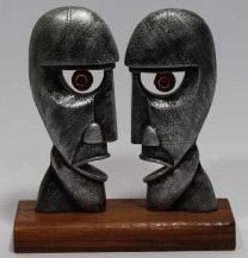 Estátua Pink Floyd - Resina Artesanal - Base Madeira