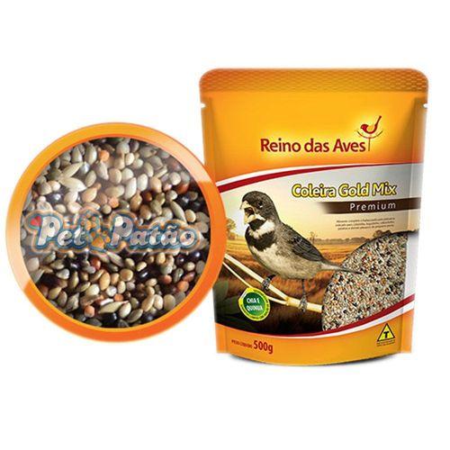 Combo com 3 Ração sementes Gold Mix Coleira Reino das Aves 500g