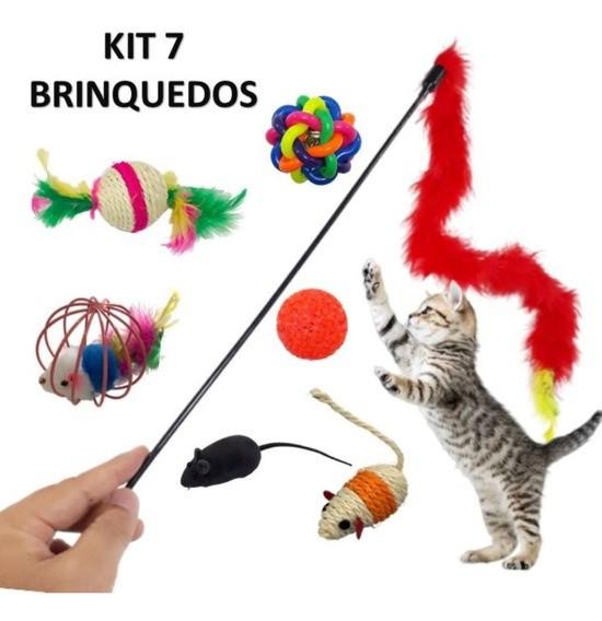 Kit com 7 brinquedos variados para Gatos