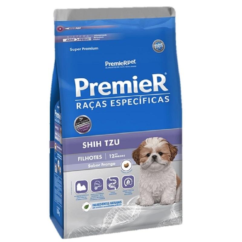 KIt contendo 2 Ração Premier Shih Tzu Filhote 1 Kg + 1 Cookie Premier + papinha para desmame