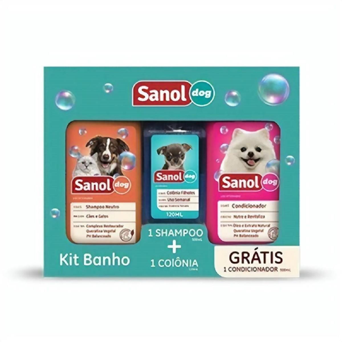 Kit Shampoo , perfume e condicionador para Cães e Gatos Sanol