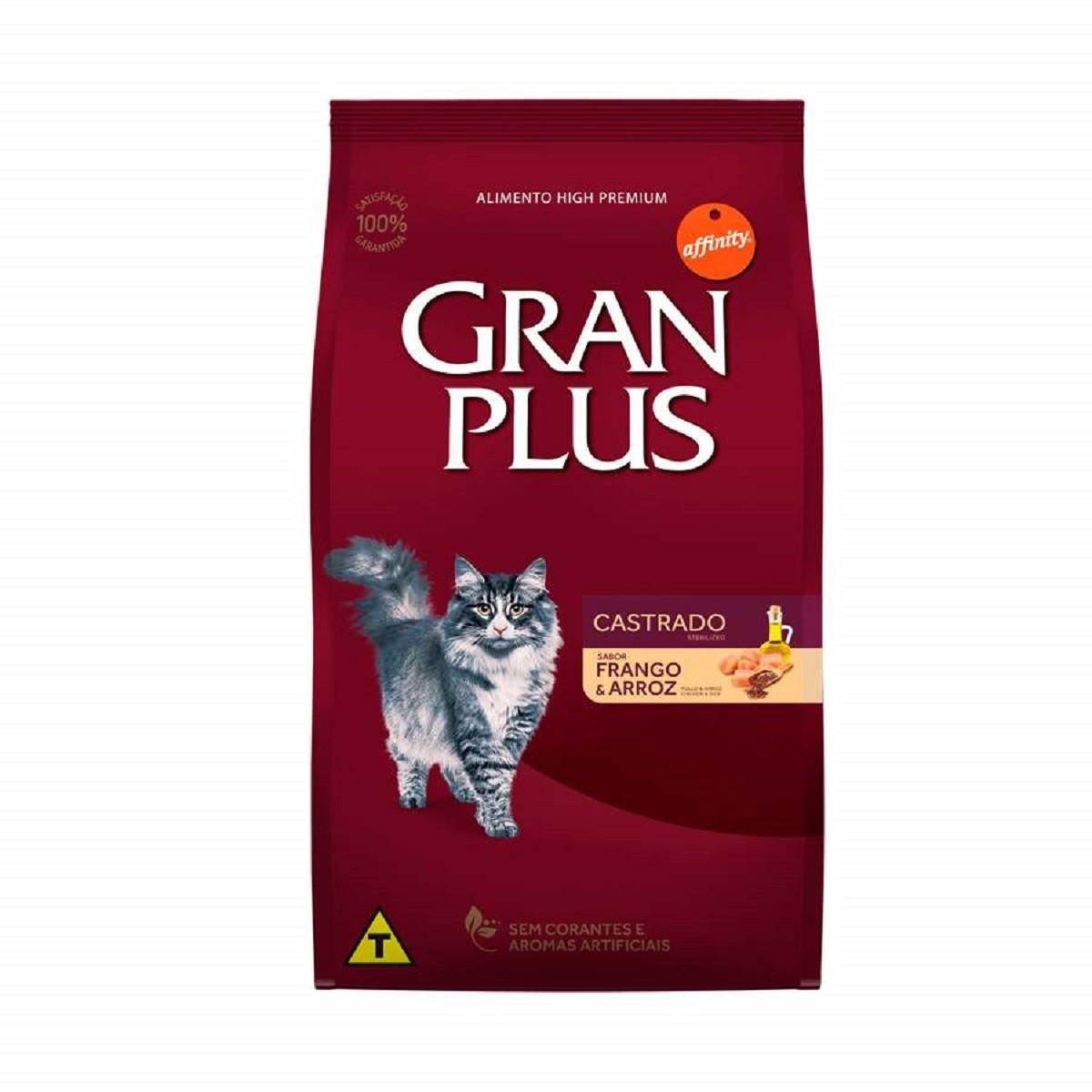 Ração GranPlus Premium Frango e Arroz para gatos castrados 10kg  - Onda do Pet