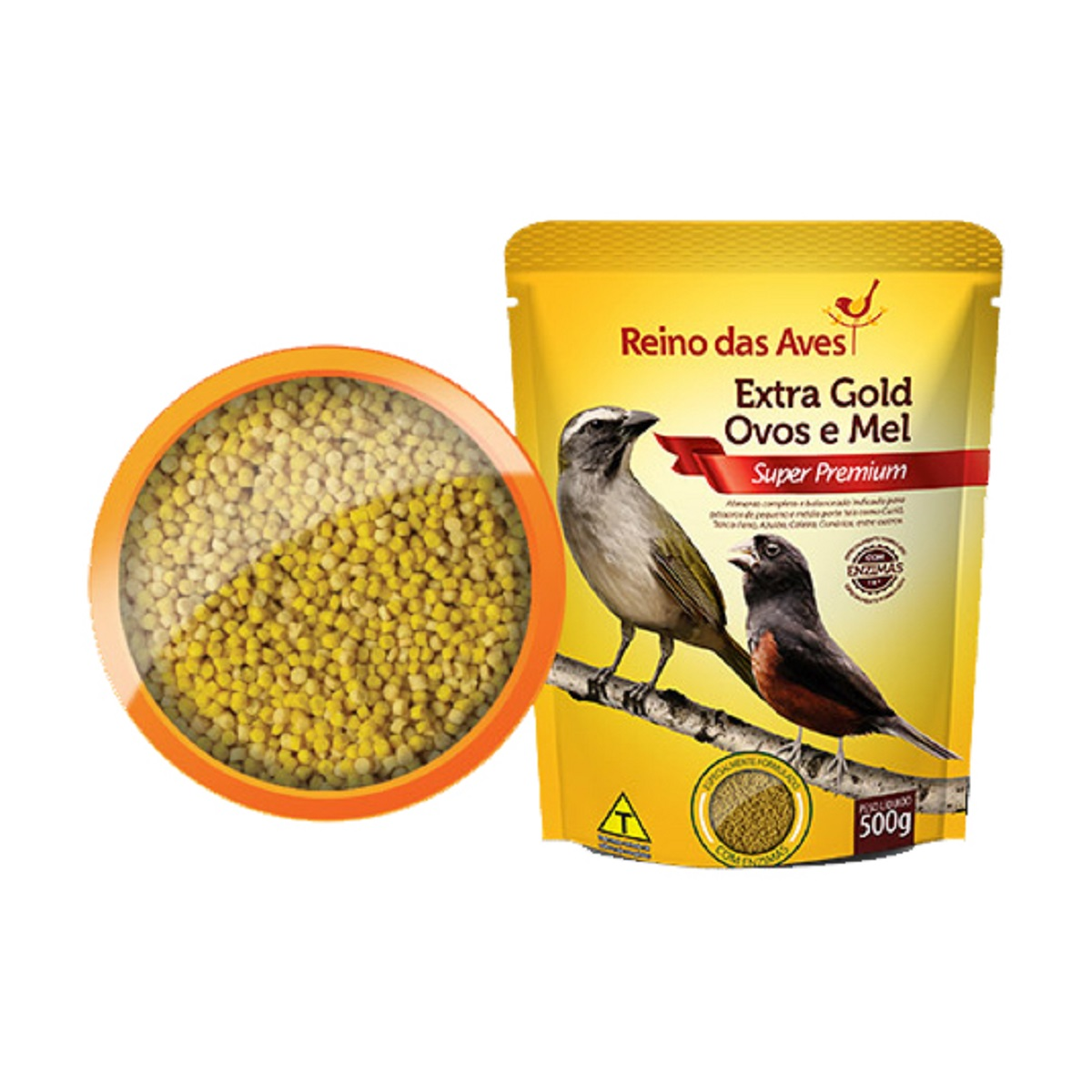 Ração para curio, canario, Coleira, Extra Gold Ovos e Mel 500g  - Onda do Pet