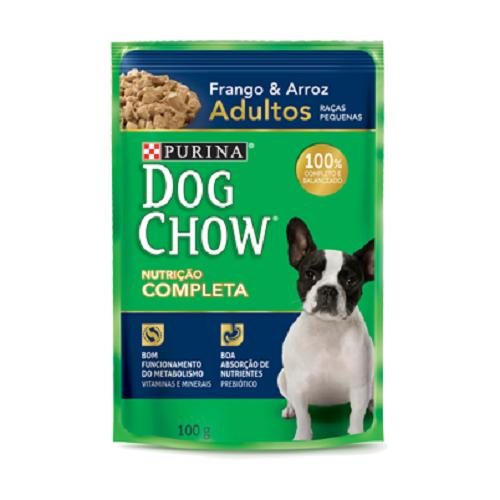 Caixa com 15 Sachê Dog Chow Purina Frango Raças Pequenas 15x100g