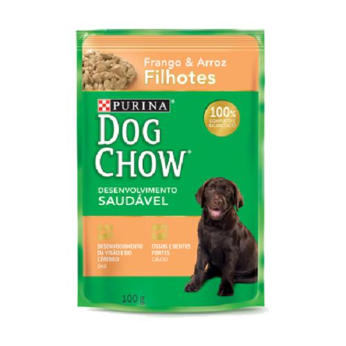 Caixa com 15 Sachê Dog Chow Purina Frango Filhotes 15x100g  - Onda do Pet