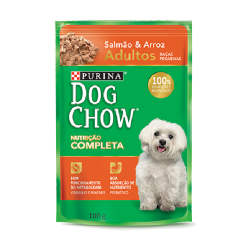 Caixa com 15 Sachê Dog Chow Purina Salmão Racas Pequenas 15x100g  - Onda do Pet