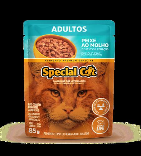 Caixa com 12 SACHÊ SPECIAL CAT ADULTOS SABOR PEIXE 12 x 85g  - Onda do Pet