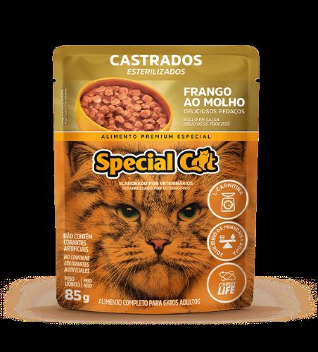 Caixa com 12 SACHÊ SPECIAL CAT CASTRADOS SABOR FRANGO 12 x 85g