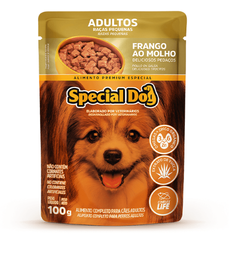 Caixa com 12 Sachê Special Dog Adultos Raças Pequenas Frango 12 x 100g  - Onda do Pet