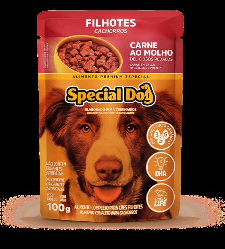 Caixa com 12 Sachê Special Dog Filhotes Sabor Carne 12 x 100g