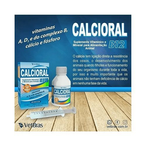 Suplemento para cães e gatos Calcio Oral com B12 100 ml  - Onda do Pet