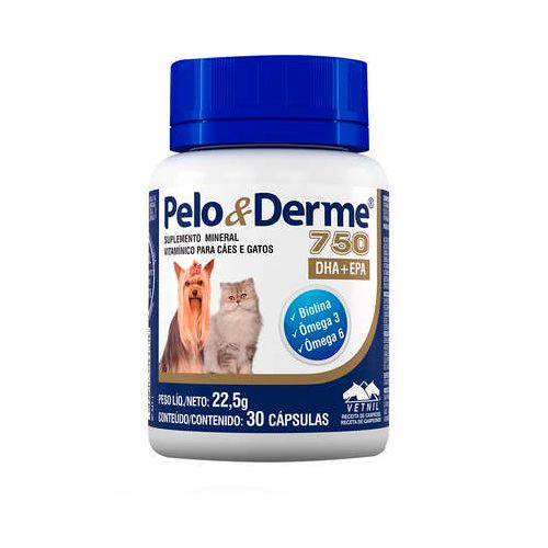 Suplemento Vitamínico Pelo e Derme Vetnil 750mg 30 capsula