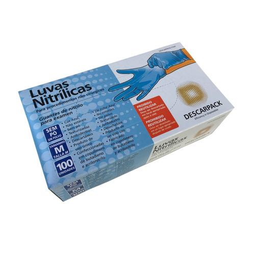 Luva Descartável Nitrílica Azul - Descarpack - 100 unidades