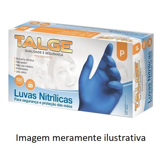 Luva Descartável Nitrílica Azul - Talge - 100 unidades
