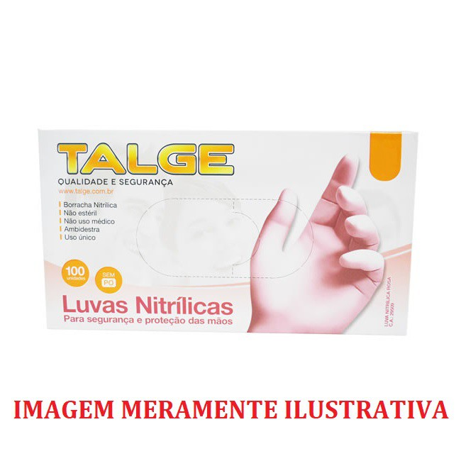 Luva Descartável Nitrílica Rosa - Talge - 100 unidades