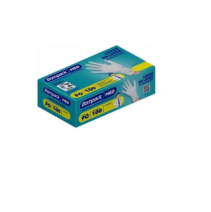 Luva Latex - Bompack - 100 unidades