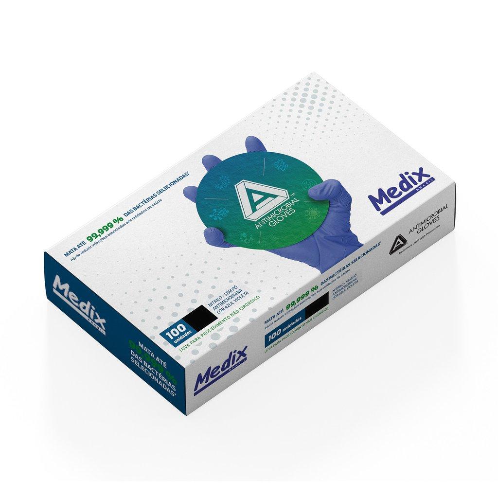 Luva Nitrílica Antimicrobiana AMG Medix - Violeta