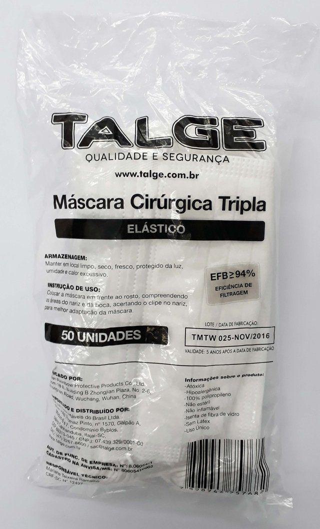 Máscara tripla C/ Elástico C/50 unidades - Talge