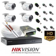 KIT MONITORAMENTO HD  04 CANAIS HIKVISION