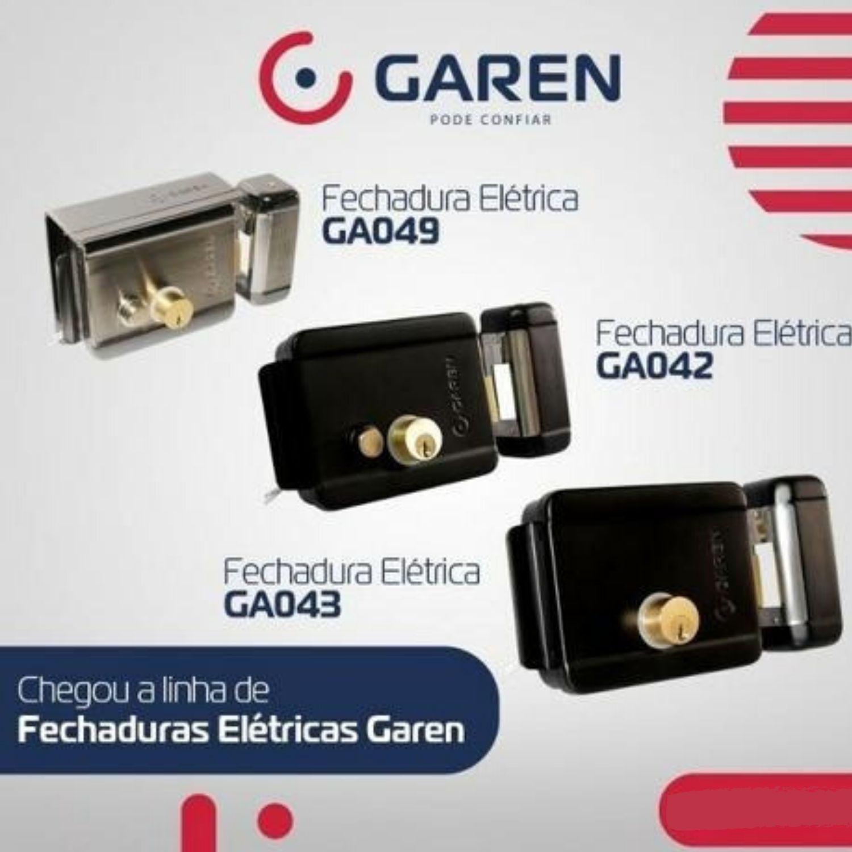 FECHADURA 12V SEM BOTÃO GAREN - Reversível Preta
