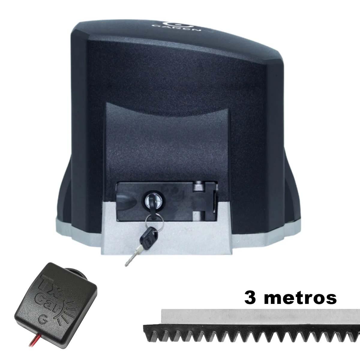MOTOR DESLIZANTE GAREN 1/3 SPEED 110V + 3 METROS CREMALHEIRA + 01 TX CAR