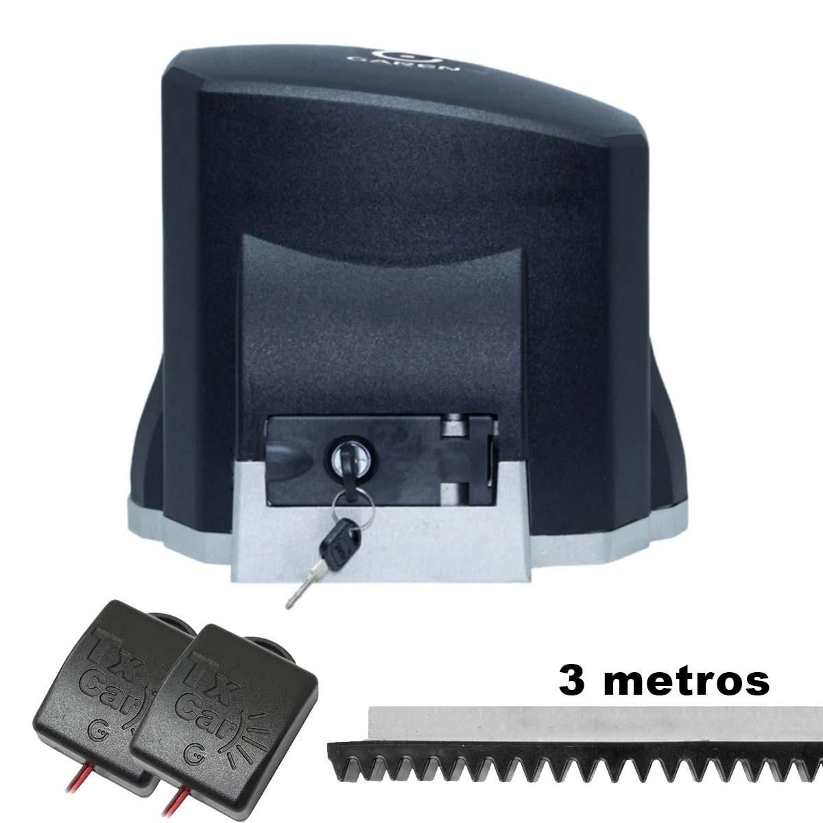 MOTOR DESLIZANTE GAREN 1/3 SPEED 110V + 3 METROS CREMALHEIRA + 02 TX CAR
